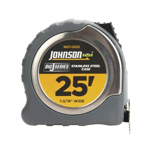 JOHNSON LEVEL & TOOL Big J Power Tape Measure, Nylon-Coated Blade/Molded Stainless Steel Case, 1-3/16-In. x 25-Ft.
