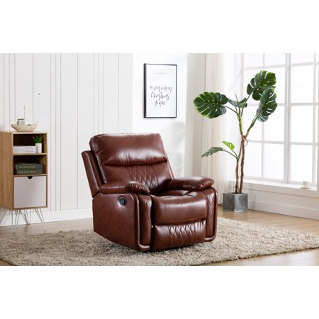Ottomanson Soft Faux Leather Recliner Manual Single Sofa Home Theater Chair