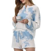 Ever-Pretty Women's Tie Dye Printed Button Down Long Sleeve 2 Piece Short Activewear Lounge Set Nightwear Loungewear 01174 Blue Small