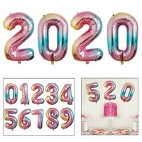 40inch Rainbow Color Foil Number Balloon For 2020 New Year's Eve Birthday Christmas Party Wedding Decorations Graduation