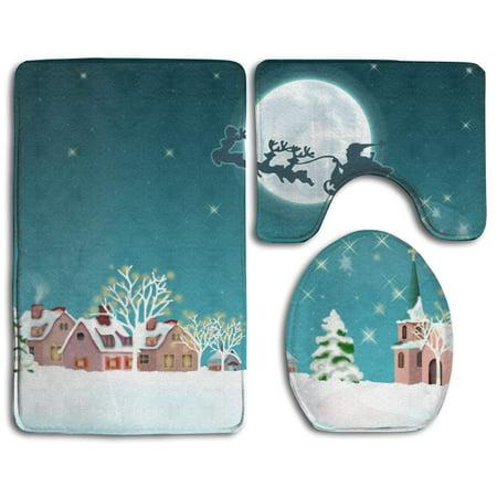 EREHome Christmas Snowy Night 3 Piece Bathroom Rugs Set Bath Rug Contour Mat and Toilet Lid Cover - image 2 de 2