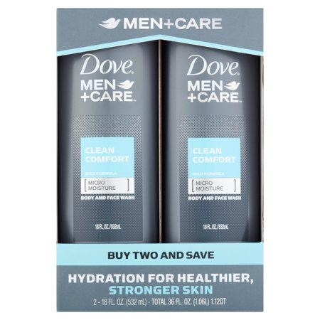 (Dove Men+Care Clean Comfort Body and Face Wash 18 oz Twin Pack)