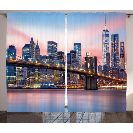 New York Curtains 2 Panels Set Brooklyn Bridge And Lower Manhattan Skyline Under Pink Sunrise Long