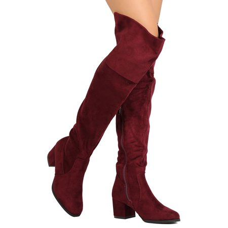Becky Quick Boots (New Women Refresh Becky-02 Faux Suede Over The Knee Chunky Heel)