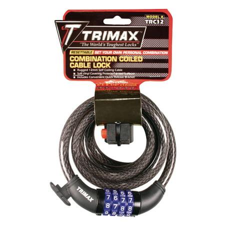 Trimax Trc126 Quadra Braid 6 X 12Mm Cable Lock With Combination   Quick Release Bracket