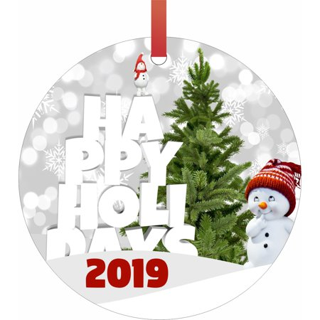 Round Snowman (Happy Holidays 2019 Snowman Double Sided Round Shaped Flat Aluminum Glossy Christmas Ornament Tree)
