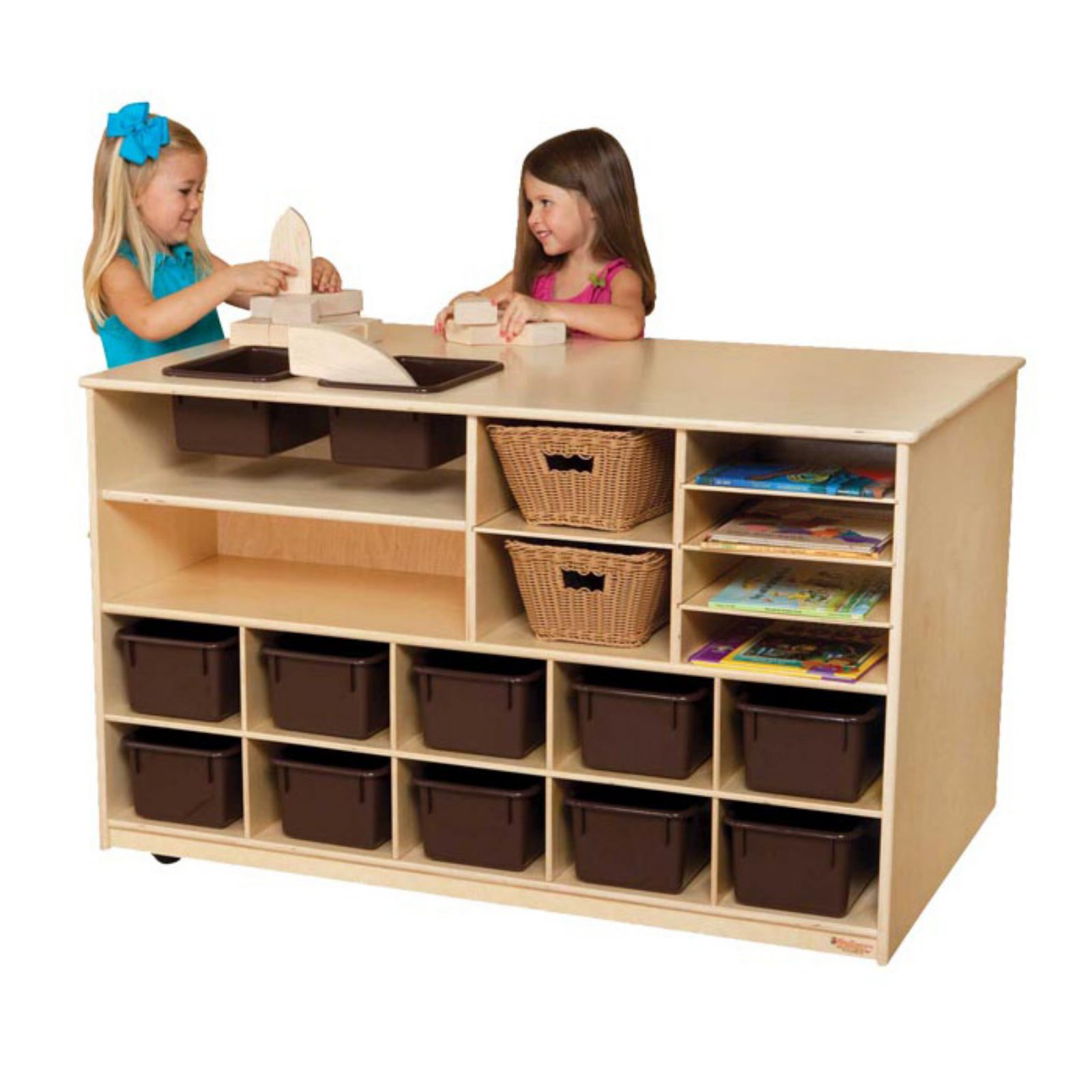 Wood Designs Mobile Storage Island with Trays