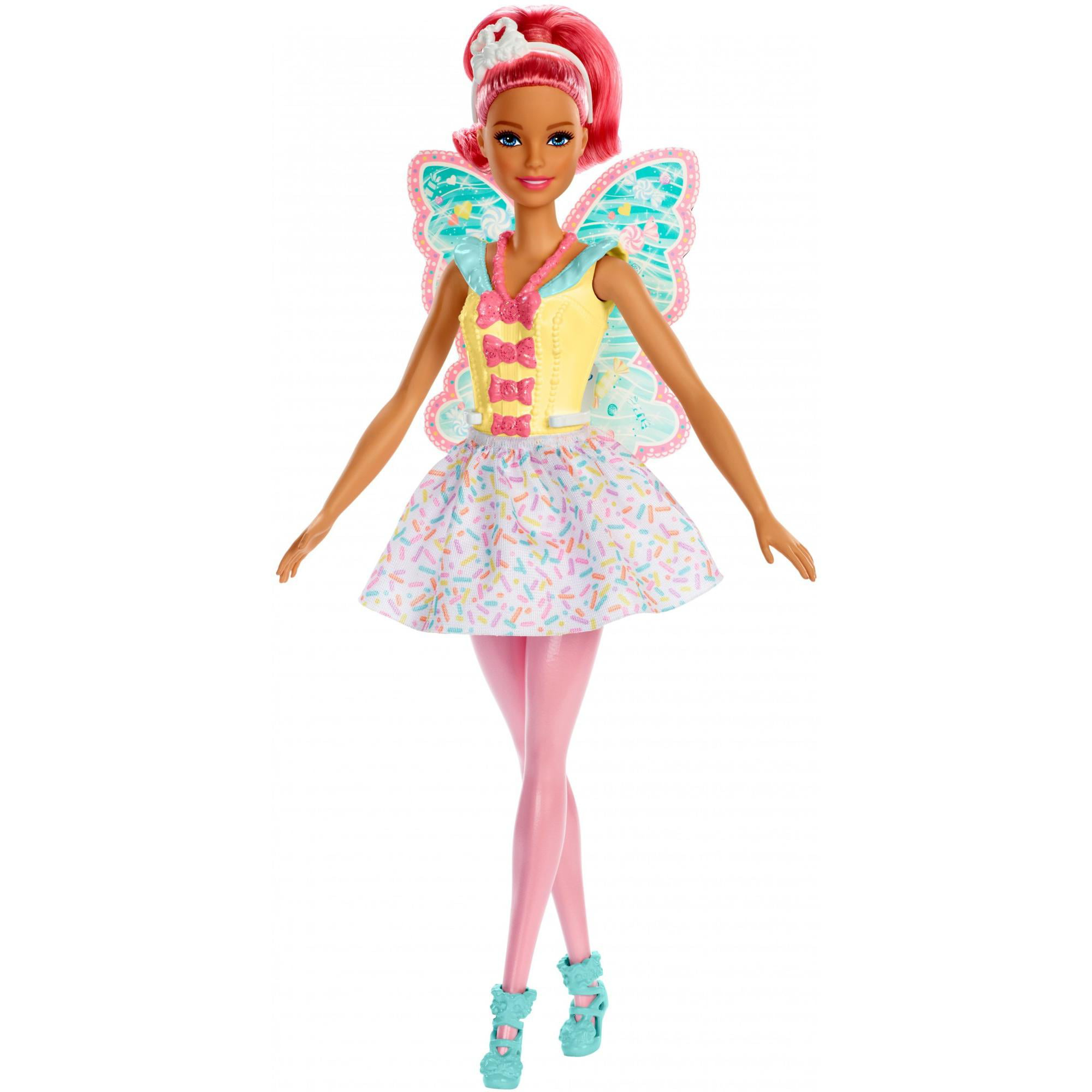 Click here to buy Barbie Dreamtopia Fairy Doll, Pink Hair & Candy-Decorated Wings by Mattel.
