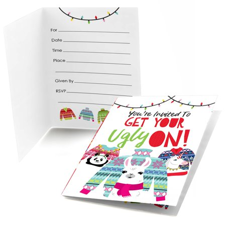 Wild and Ugly Sweater Party - Fill In Holiday and Christmas Animals Party Invitations (8 count) - Christmas Party Invitation