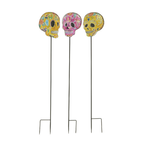 The Holiday Aisle 3 Piece Appealing Skull Garden Stake Decoration