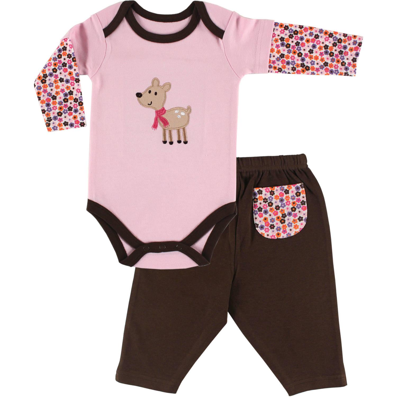 Hudson Baby Newborn Baby Girls Long Sleeve Bodysuit & Pant