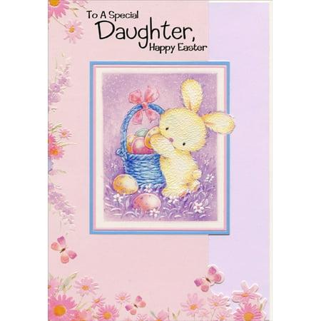 Designer Greetings Bunny Putting Eggs in Basket: Daughter Juvenile Easter Card