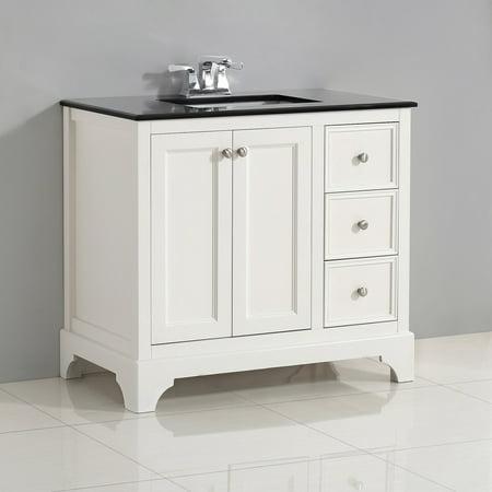 Brooklyn + Max Dartmouth 36 inch Bath Vanity in Soft White with Black Granite Top