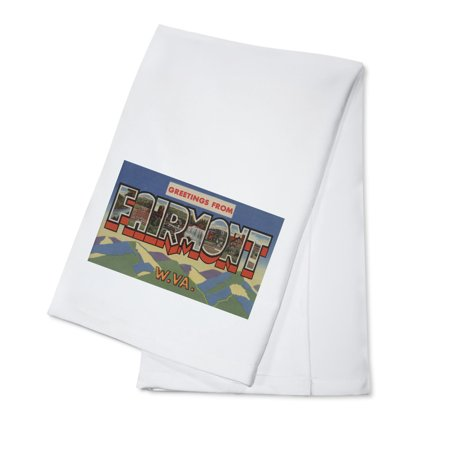 Fairmont, West Virginia - Large Letter Scenes (100% Cotton Kitchen (Fairmont Shaker Linen)