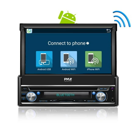 Marine Navigation System - PYLE PL7ANDIN - Single DIN Android Stereo Receiver System with Pop-Out Touchscreen, GPS Navigation, Bluetooth & Wi-Fi Streaming
