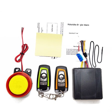 12V Universal Motorcycle Alarm System Scooter Anti-theft Secure Alarm  System Two-way with Engine Start Remote Control Key Fob with Overload  Protector