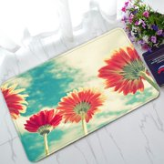 PHFZK Summer Landscape Doormat, Red Sunflower under the Bule Sky Doormat Outdoors/Indoor Doormat Home Floor Mats Rugs Size 30x18 inches