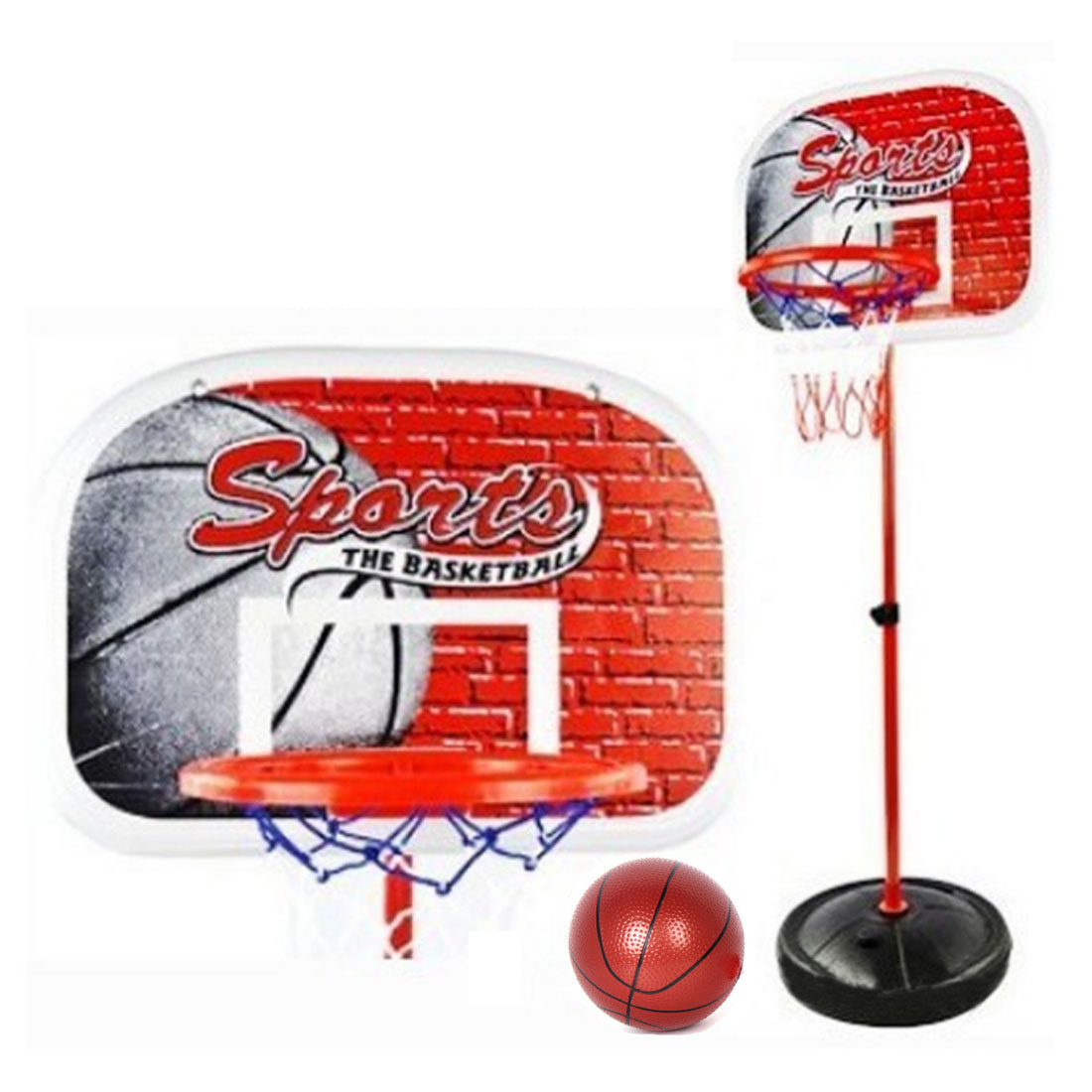 Kids Mini Backboard Basketball Stand with Inflator Basketball Goal Hoop Toy 4-Section Heights Adjustable 20-58inch