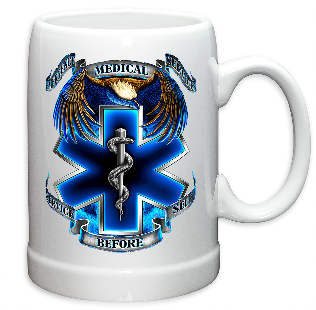 German Beer Stein � EMT Paramedic Gifts for Men or Women � Hero's EMS StoNeware Beer Stein... by