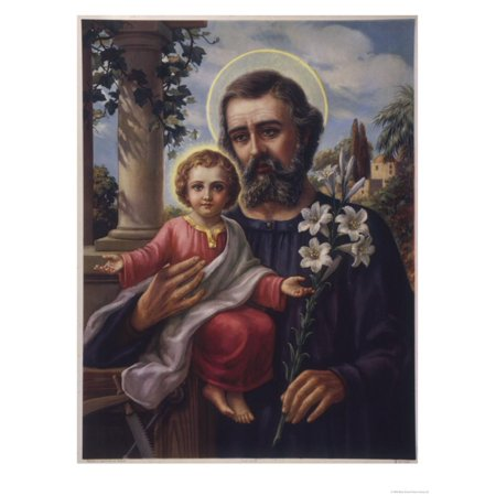 San Jose (Saint Joseph) Holds His Son in One Hand a Lily Stem in the Other Print Wall Art