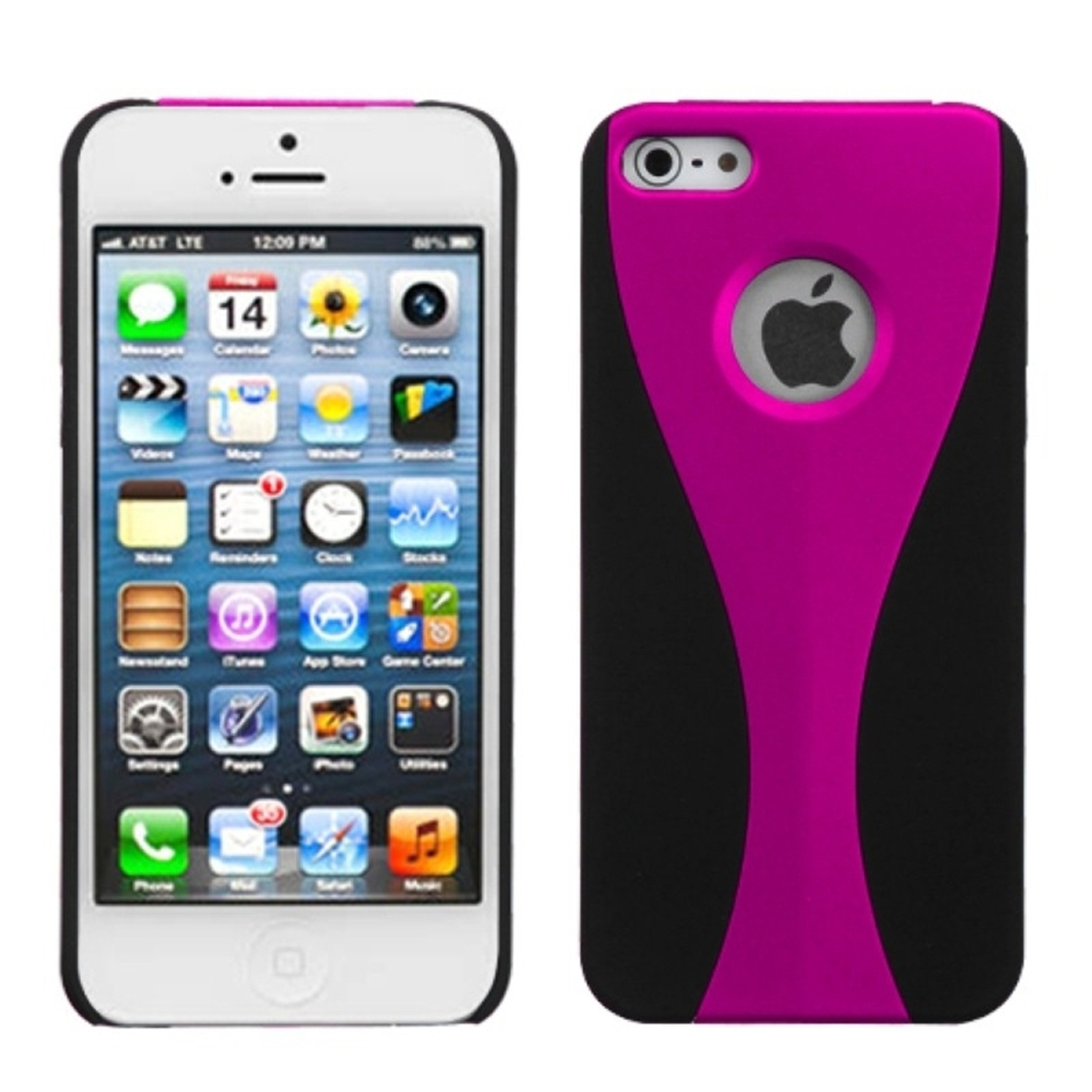 Insten Wave Cup Shape 3-Piece Hot Pink/Black Rubberized Back Case for iPhone SE 5 G