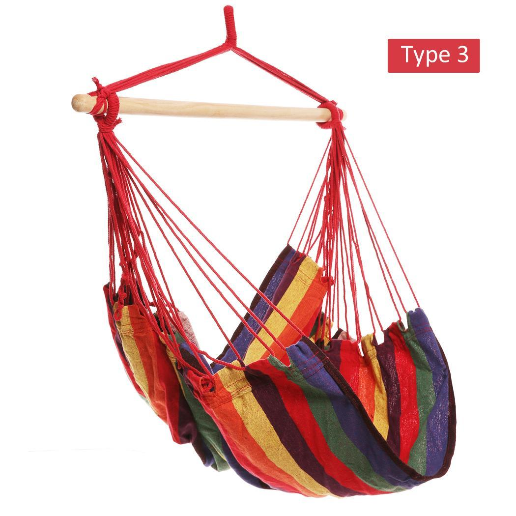 Reduce Price Hammock  Hanging Chair Extra Long Confortable Durable Striped  with Wooden Stretcher  Multicolor for Yard, Bed AMZSE