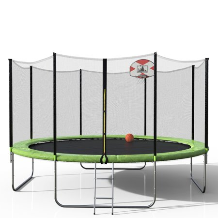 Tkoofn 14 Foot Trampoline For Kids With Safety Pad Ladder