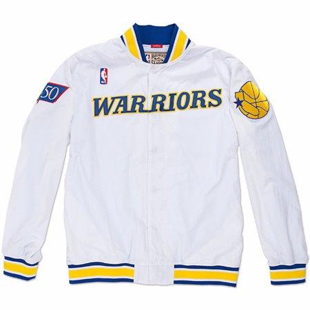 Hardwood Classics Vintage Tee - Golden State Warriors NBA Mitchell & Ness White Authentic Hardwood Classics 1996-97 Vintage Warm Up Jacket For Men
