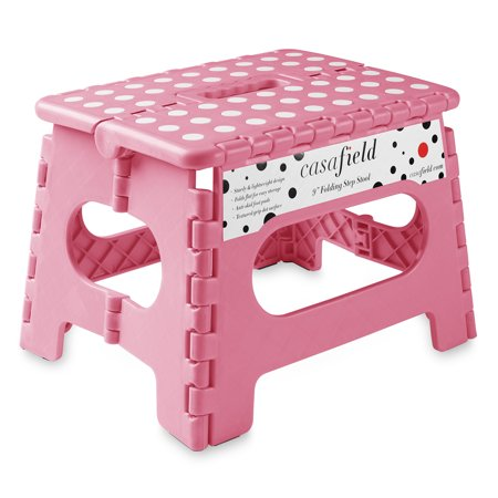 "Casafield 9"" Folding Step Stool with Handle - Portable Collapsible Small Plastic Foot Stool for Kids and Adults - Use in the Kitchen, Bathroom and Bedroom"