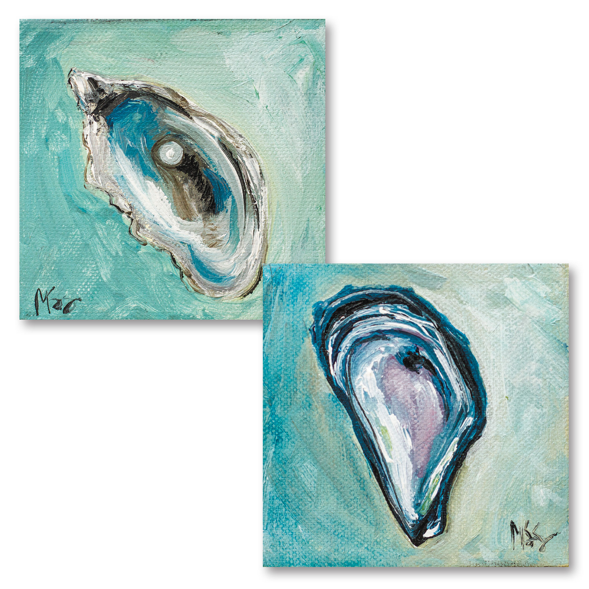 Beautiful Teal and Blue Pearl In Oyster Set; Coastal Décor; Two 12x12in Unframed Paper Posters