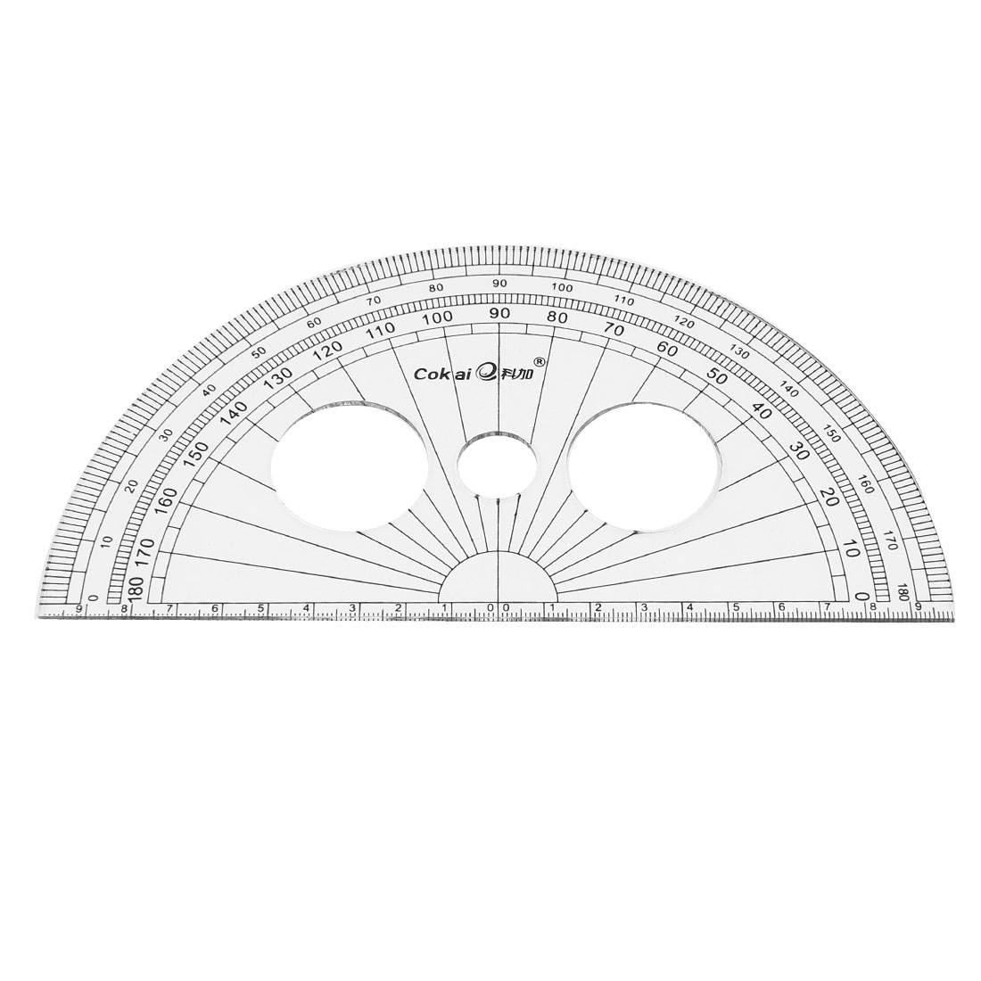 Unique Bargains Plastic School Office 0-180 Degree Protractor Ruler Stationery 20cm Clear