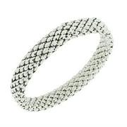 EDFORCE Stainless Steel White Gold Silver-Tone Mesh Narrow Stretch Bangle Bracelet