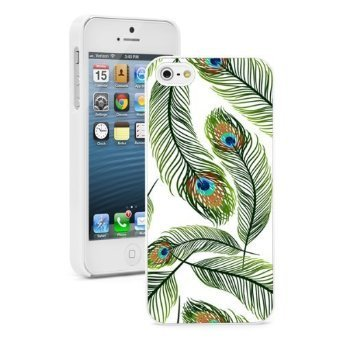 Apple iPhone 6 6s Hard Color Back Case Cover Protector Peacock Feathers Background (White)