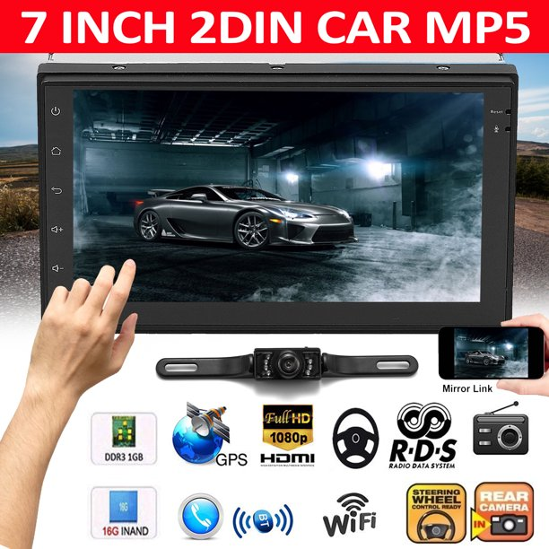 7 Inch 2 Din 1080p Hd Wifi Touch Screen Car Gps Navigator H Four Core Stereo Radio Mp5 Mp3 Player Fm Am Radio 3d Map Free Tv Channels Android Multimedia Aux Electronic Dog