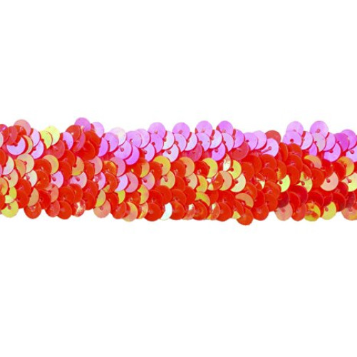 Sequin Trim 1-Inch Wide Polyester Stretchable Sequin Trim Rolls for Arts and Crafts, 10-Yard, Fuchsia