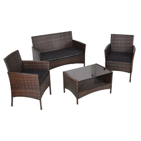 Costway 4 PCS Outdoor Patio Rattan Furniture Set Table Shelf Sofa with Black Cushions ()