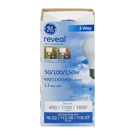 GE Reveal 50/100/150W 3 Way Bulb, 1.0 CT ()