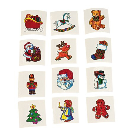 Fun Express - Holiday Tattoos (6dz) for Christmas - Apparel Accessories - Temporary Tattoos - Regular Tattoos - Christmas - 72 Pieces - Christmas Tattoos