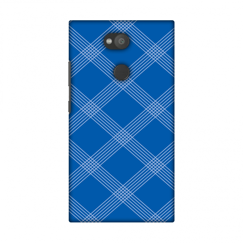 Sony Xperia L2 Case, Premium Handcrafted Designer Hard Shell Snap On Case Printed Back Cover with Screen Cleaning Kit for Sony Xperia L2, Slim, Protective - Carbon Fibre Redux Coral Blue 5