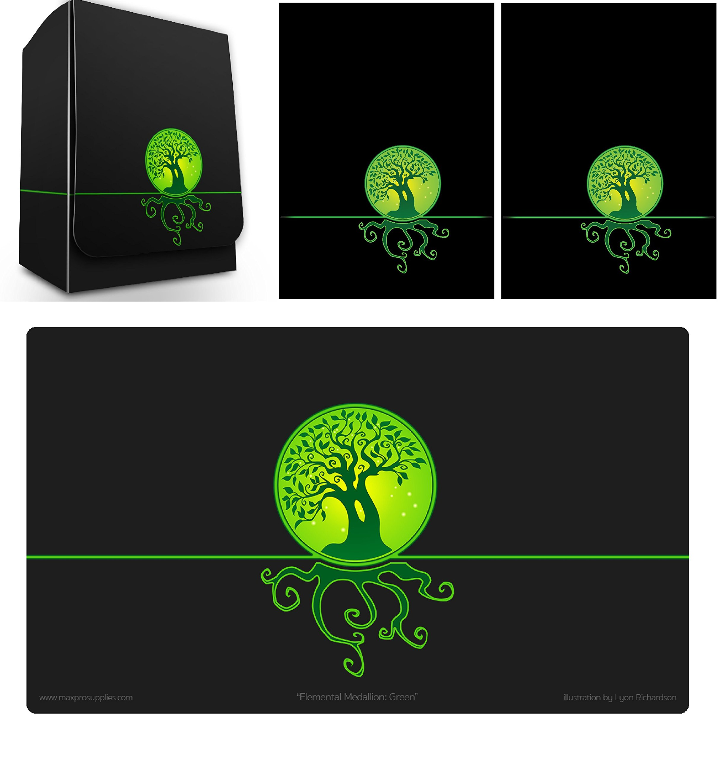 Max-Pro 1 ICONIC ELEMENTAL Life Symbol GREEN Deck Box , PLAYMAT and 100 Shuffle-Tech Sleeves (fits MTG Mana Cards)