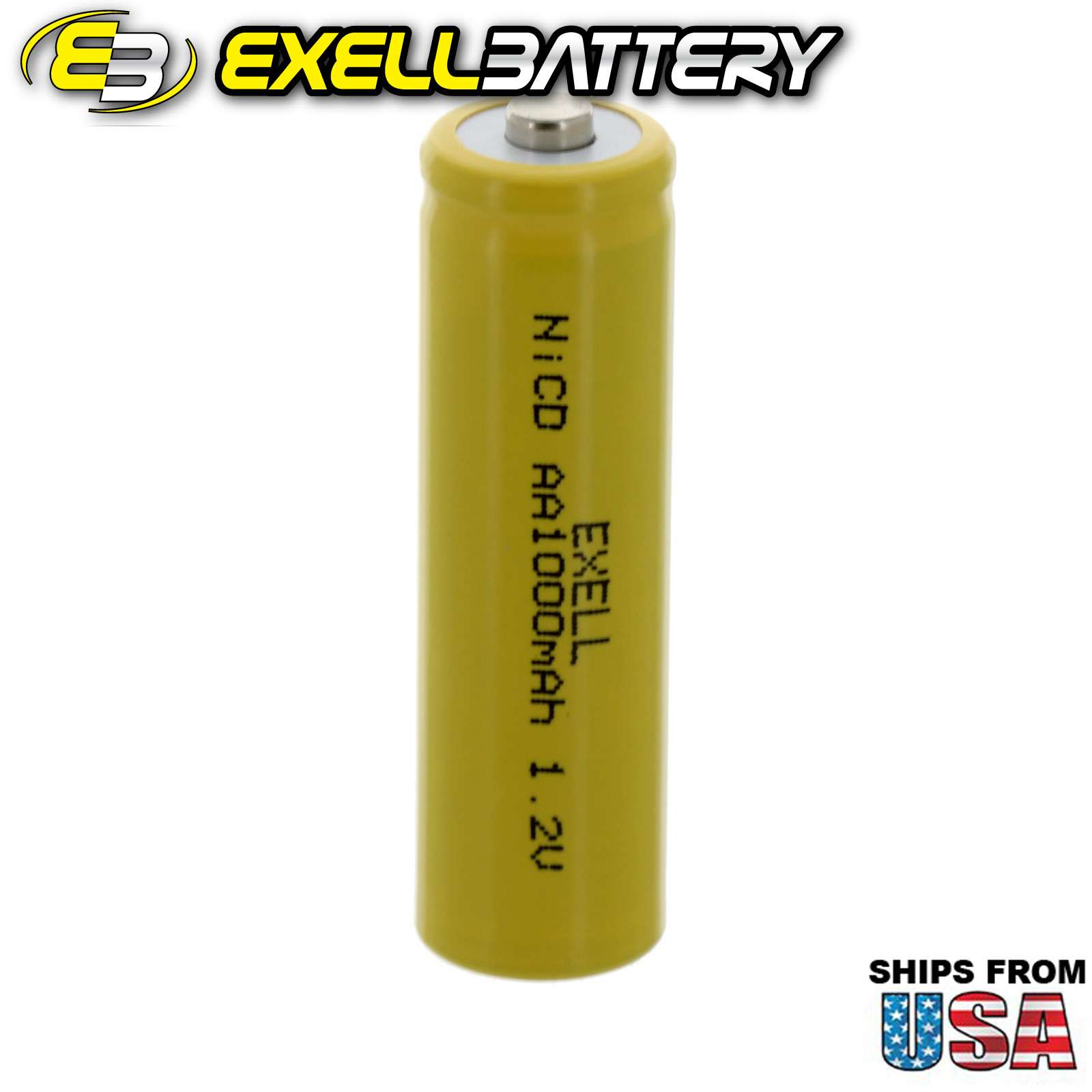 Exell AA 1.2V 1000mAh NiCD Button Top Rechargeable Battery FAST USA SHIP
