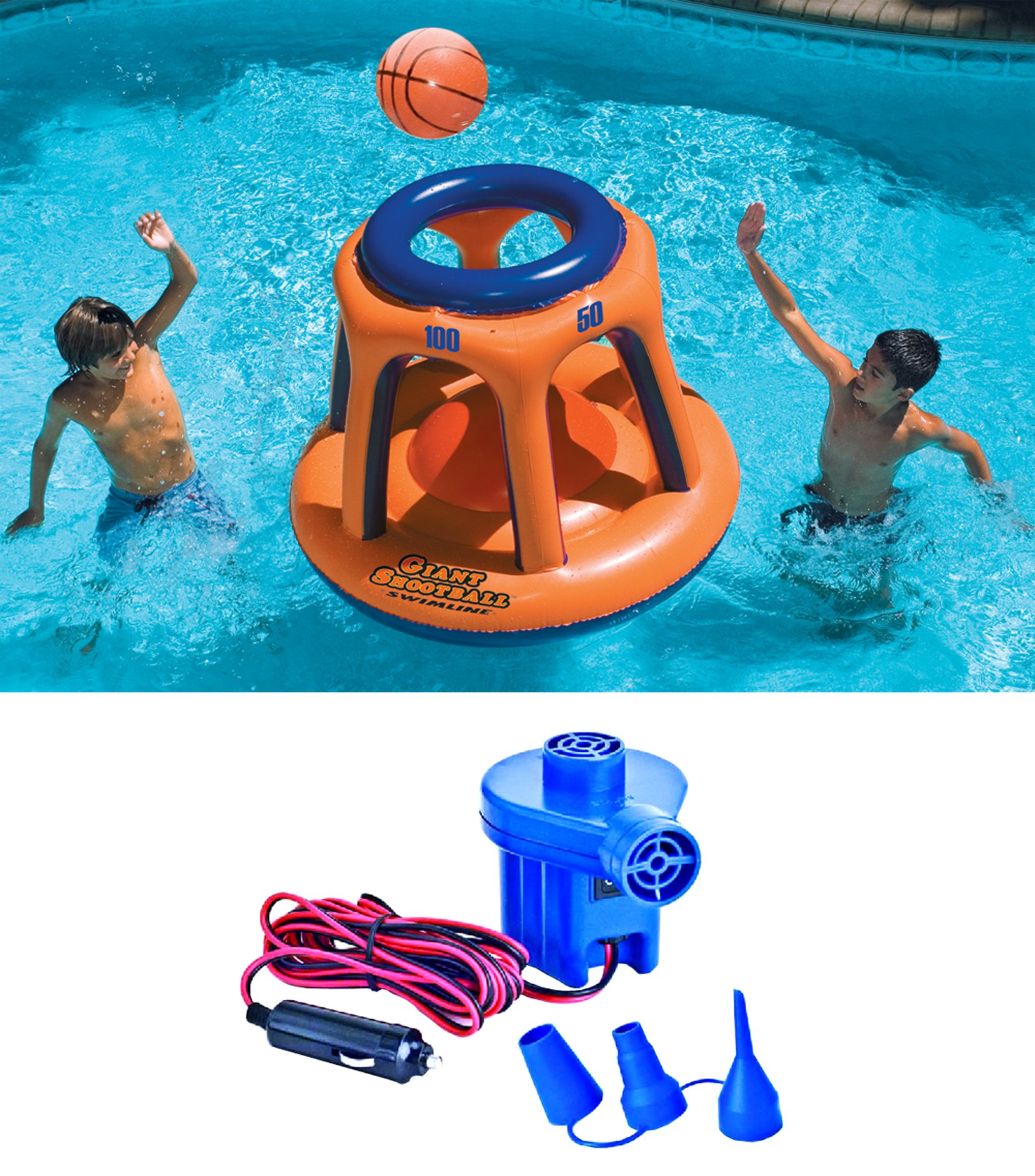 Swimline 90285 Basketball Hoop Shootball Inflatable Pool Toy + Electric Air Pump by Swimline
