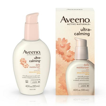 Aveeno Ultra Calming Daily Moisturizer For Sensitive Skin With Broad Spectrum Spf 15  4 Fl  Oz