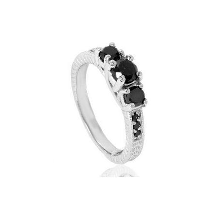 1 3 4ct Treated Black Diamond Vintage Three Stone Engagement Ring