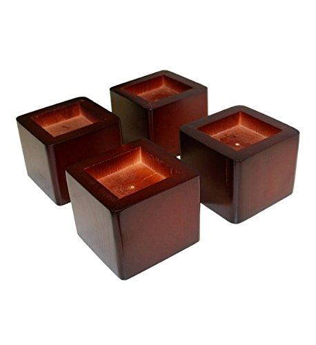 wood mahogany square bed risers walmart com