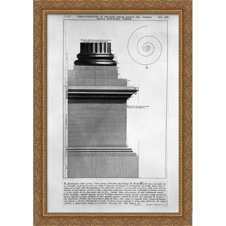 The Roman Antiquities  T  4  Plate Li  Vista In Large Parts Of The Temple Of Fortuna Virile 28X40 Large Gold Ornate Wood Framed Canvas Art By Giovanni Battista Piranesi