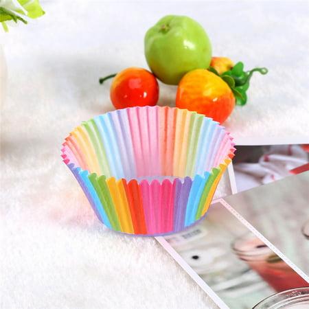 Paper Cupcake Baking Cups (100 pcs Rainbow Cupcake Cases Cupcake Liner Cupcake Paper Baking Cup Muffin Cases Cake)