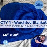 Blue Super-Soft Luxury XL 20lb Weighted Anxiety Blanket With Washable Minky Duvet Cover. Heavy Therapy Comforter Helps Adults and Teens with ADHD, Autism, PTSD, Stress, Sleep and Sensory Disorders.