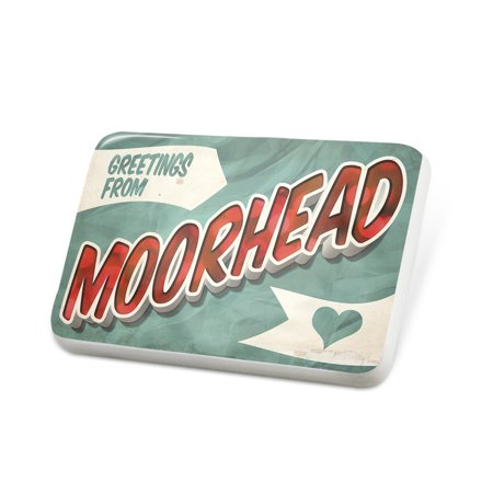 (Porcelein Pin Greetings from Moorhead, Vintage Postcard Lapel Badge – NEONBLOND)