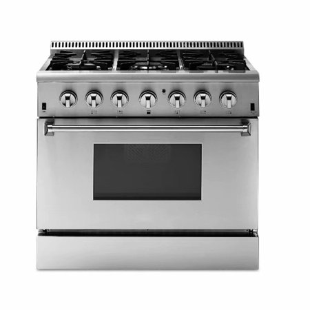 36in Stainless Steel 6 Burner (36in Natural Gas Range, Stainless Steel 6 Sealed Burners Convection)